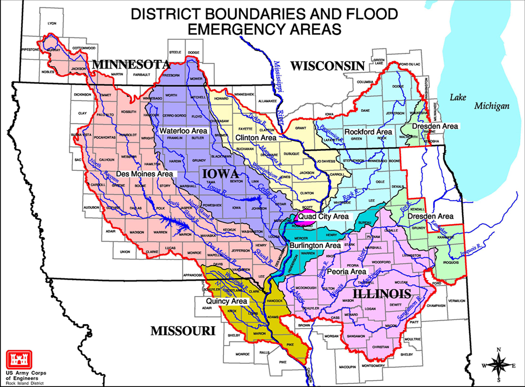 Flood - Us corps of engineers district map