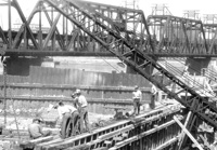 Building Locks and Dam 15 in 1934.